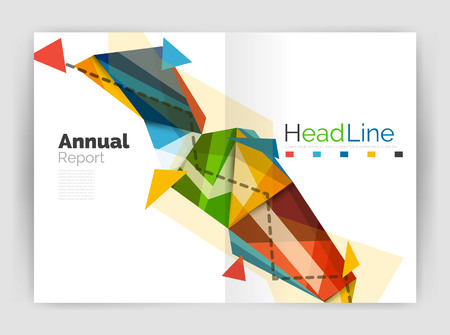 multiplicar: Triangles and lines, annual report flyer brochure template. Vector illustration