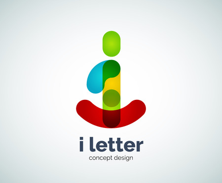 Vector i letter created with overlapping elements