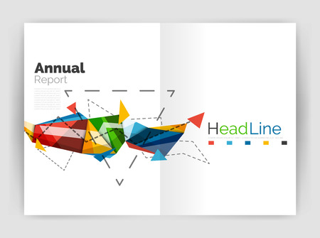 minimalistic: Triangles and lines, annual report flyer brochure template. Vector illustration