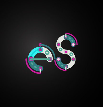 vector es: Vector letter es. Abstract geometric colorful design