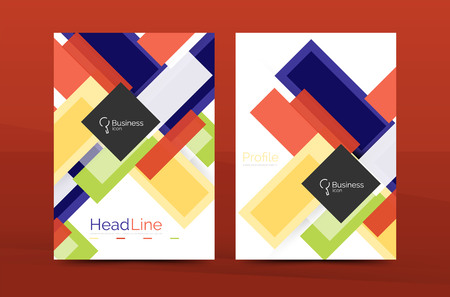 periodical: Straight lines geometric business report templates. Vector abstract background set Illustration