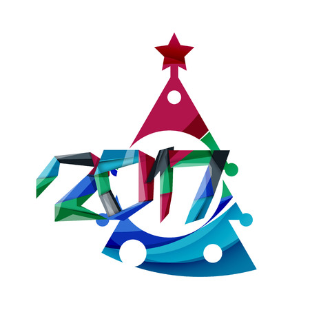Happy New Year and Chrismas holiday greeting card elements. Geometric banner Illustration