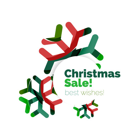 Christmas sale, vector greeting card or banner. Vector New Year elements with white copyspace Illustration