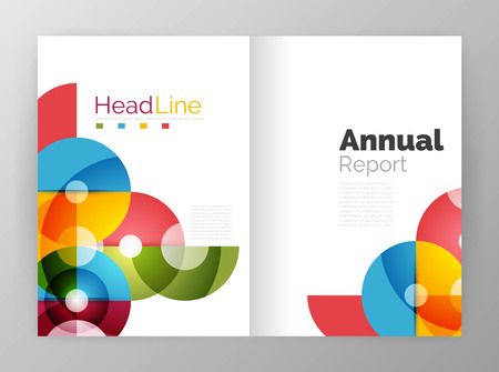 plantillas de informe anual de círculo, folletos comerciales. Fondos abstractos del vector
