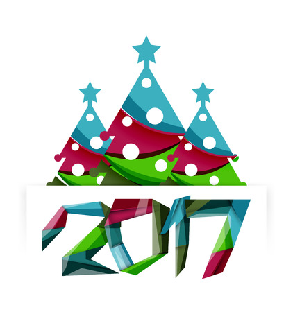 happy new year banner: Happy New Year and Chrismas holiday greeting card elements. Geometric banner Illustration