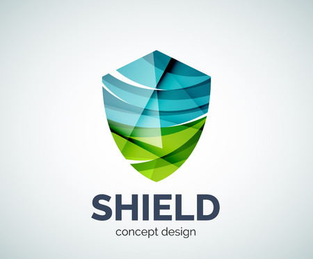 honour guard: Shield business branding icon, created with color overlapping elements. Glossy abstract geometric style. Illustration