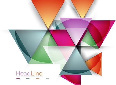triangle shaped: Colorful triangles on white background. Modern geometric banner template with copyspace