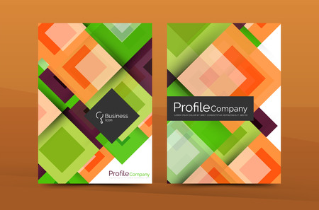 Set of front and back a4 size pages, business annual report design templates. Geometric square shapes backgrounds. Vector illustration