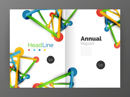 intersects: Lines and circles, modern abstract business annual report template. Vector illustration