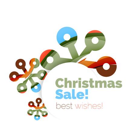bargaining: Geometric Christmas sale or promotion ad banner. Blank offer design Illustration
