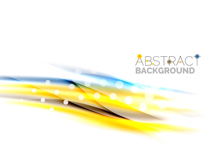 Shiny bright color lines with light effects and circles, wave abstract background Illustration
