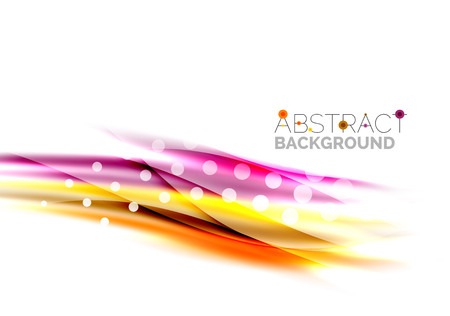 Shiny bright color lines with light effects and circles, wave abstract background Vector Illustration