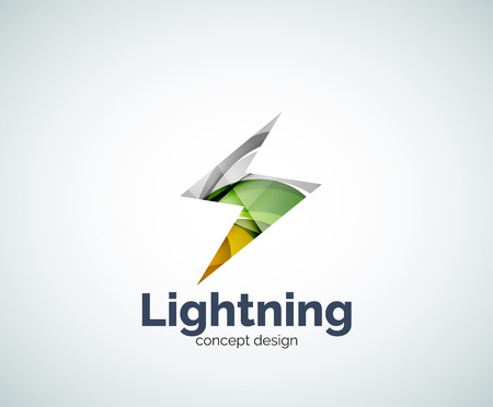 electricity company: Lightning  template, abstract geometric glossy business icon Illustration