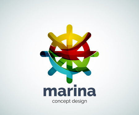 ship steering wheel: Vector marina, steering wheel  template, abstract business icon