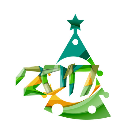 2017 Christmas and New Year Geometric Banner with white space for text. Greeting card element