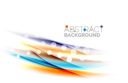 cg: Shiny bright color lines with light effects and circles, wave abstract background Illustration