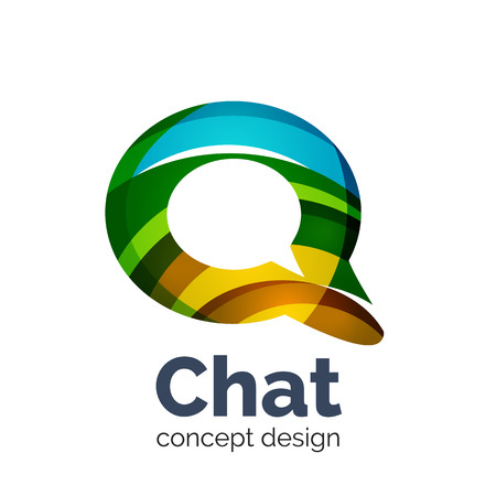 Unusual abstract business vector template - chat cloud