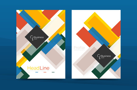 Straight lines geometric business report templates. Vector abstract background set Illustration