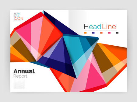 Vector annual report geometric template, 3d shapes Illustration