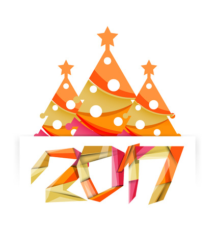 newyear: 2017 New Year and Christmas holiday elements. Vector abstract geometric design with white space for text