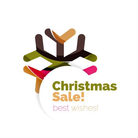 Christmas geometric abstract sale promo banner. Vector illustration Illustration