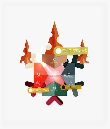 torn metal: Modern paper Christmas stickers, New Year infographic sale banner templates