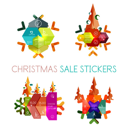 Paper New Year and Christmas labels and stickers. Modern info banner