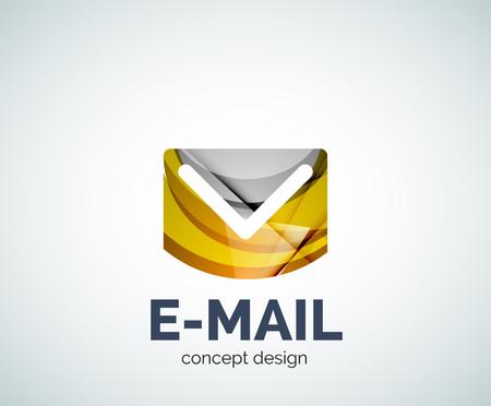 Icono de marca comercial de correo electrónico, creado con elementos superpuestos de color. Brillante estilo geométrico abstracto