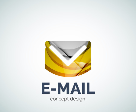 E-mail  business branding icon, created with color overlapping elements. Glossy abstract geometric style Illustration