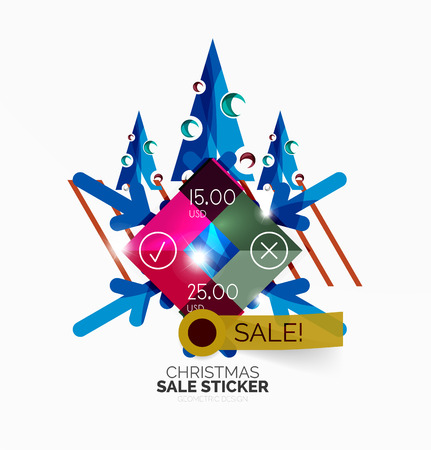 bargaining: Vector Geometric Christmas Sale Stickers - shiny paper style elements with holiday concepts - Snowflake and New Year Tree Illustration