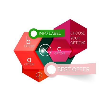 Abstract infographic geometric templates. Vector layouts with options and text for business background - numbered banners - business lines - graphic website Illustration