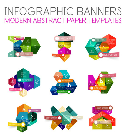 shifting: Abstract infographic geometric templates. Vector layouts with options and text for business background - numbered banners - business lines - graphic website Illustration
