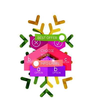 shopping chart: Christmas infographic business templates - geometric paper shapes with text and options on snowflake