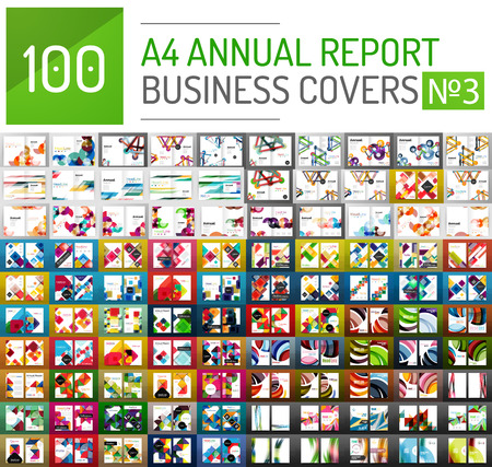 template: Mega collection of 100 business annual report brochure templates, A4 size covers created with geometric modern patterns - squares, lines, triangles, waves