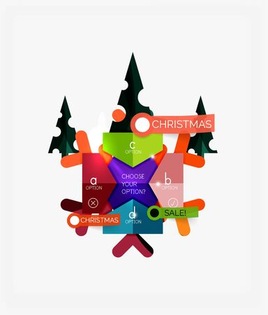 christmas tree decoration: Modern paper Christmas stickers, New Year infographic sale banner templates
