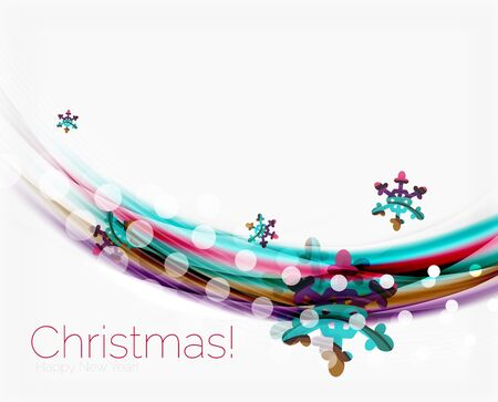 Color wave line with snowflakes, winter vector business background template Illustration