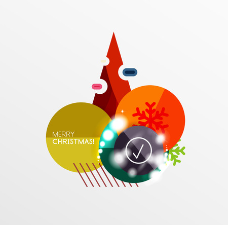 Christmas sale stickers, circle banners Illustration