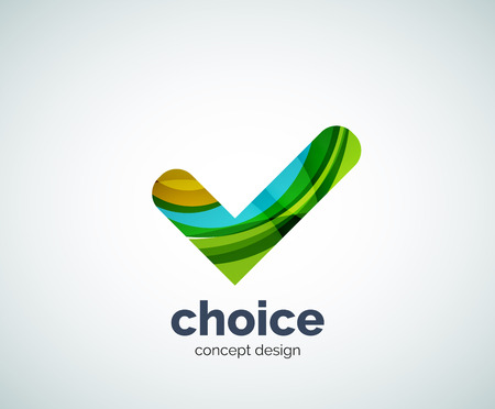 confirm: Vector choice concept, tick  template, abstract business icon