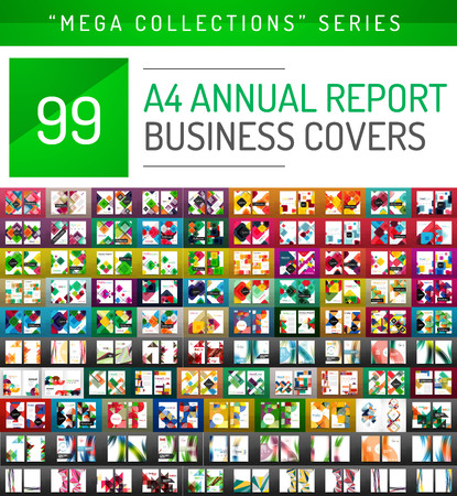 Annual report covers mega collection, A4 size brochure templates created with geometric modern patterns - squares, lines, triangles, waves Illustration