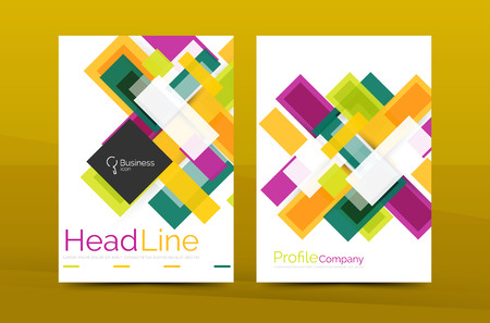 a3: Set of modern geometric business annual report covers. Vector abstract backgrounds Illustration