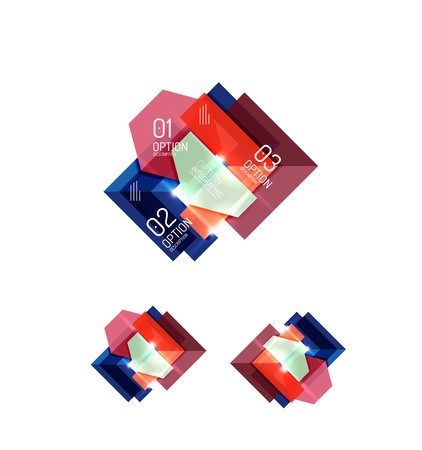 paper graphic: Set of abstract geometric paper graphic layouts. Business presentations, backgrounds, option infographics or banner templates