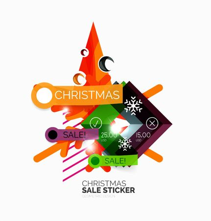 Shiny holiday New Year and Christmas sale banners, vector promotional and info templates Illustration