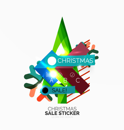 Paper Christmas and New Year banners with sparkles Illustration
