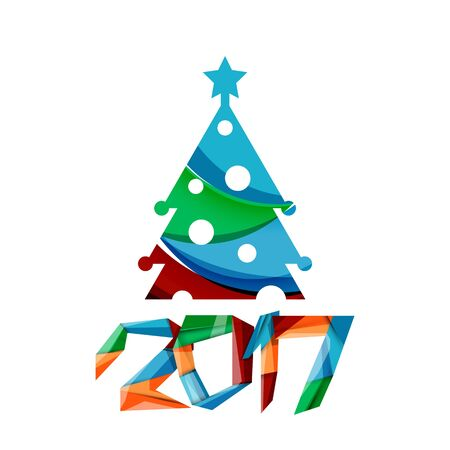 cutouts: 2017 Christmas and New Year Geometric Banner with white space for text. Greeting card element