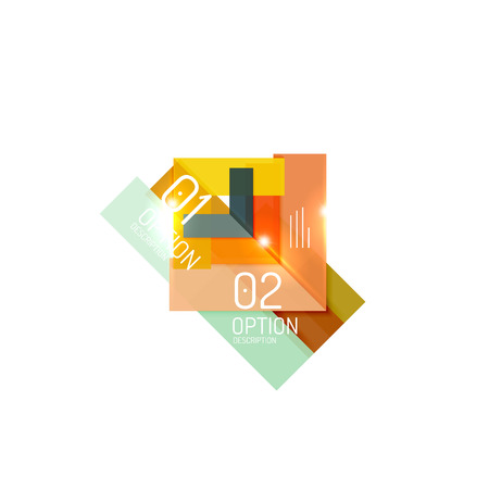 Overlapping geometric shapes composition. Vector business infographics, option select