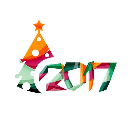 Christmas geometric banner, 2017 New Year. Vector illustration