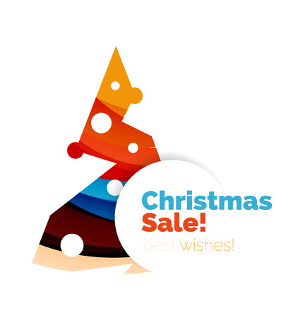 Geometric Christmas sale or promotion ad banner. Blank offer design Illustration