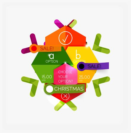 Modern paper Christmas stickers, New Year infographic sale banner templates