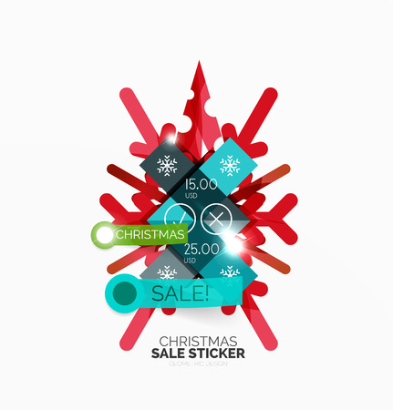 best buy: Vector Geometric Christmas Sale Stickers - shiny paper style elements with holiday concepts - Snowflake and New Year Tree Illustration