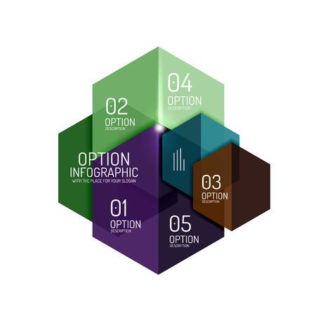 Infographic moderne sjablonen - geometrische vormen. Voor banners, zakelijke achtergronden, presentaties Vector Illustratie